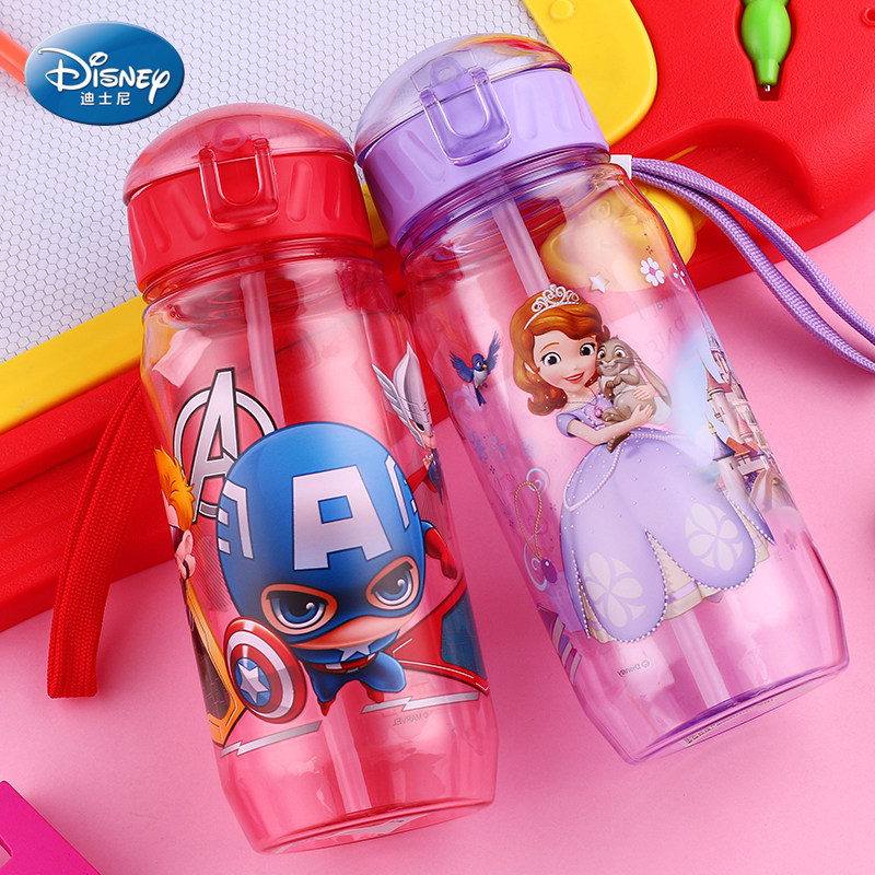 Disney 17 Children Straw Plastic Water Bottle BPA Free Lovely Cartoon Eco-friendly With lid Portable Camp Student Water tumble 9