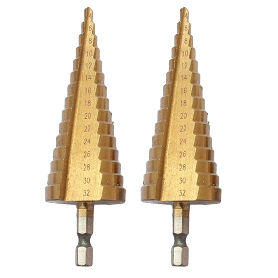 Die Pagode Form HSS Dreieck Schaft Pagode Metall Stahl Schritt Bohrer 4-32mm Loch Bohrer Kegel Bohrer senker Bit Set Titanium