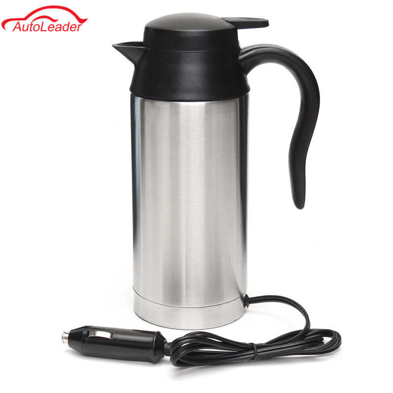 Car Based Heating Stainless Steel Cup Kettle Travel Trip Coffee Tea Heated Mug Motor Hot Water For Car Or Truck Use 750ml 12V automatic mixing cup camera lens stainless steel coffee tea mug travel