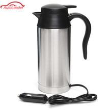 Автомобиль на основе Отопление Нержавеющая сталь чашки чайник путешествия поездка Кофе Чай кружку с подогревом Двигатель горячей воды для автомобиля или грузовика Применение 750 мл 12 В