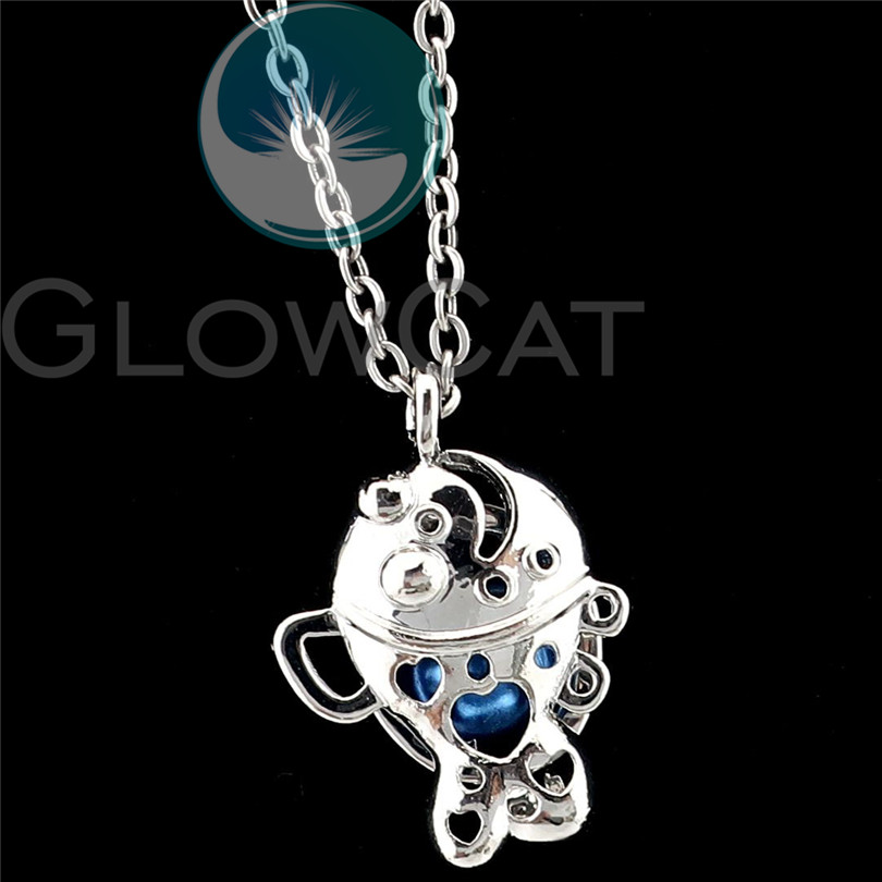Silver Animal Fish Charm Pearl Beads Cage Aroma Diffuser Locket 5X-K1173
