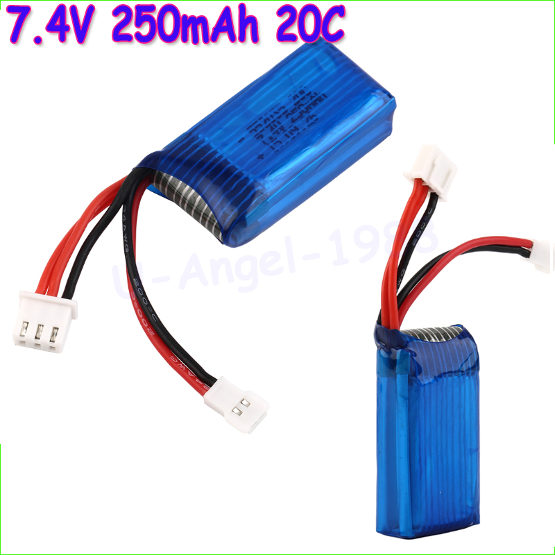 2pcs/lot 7.4V 250mAh 20C 2S Losi Micro SCT 1/24 Short Card Battery For Mini Remote Control Car 1/24 Rc Mini Helicopter
