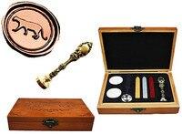 Vintage Leopard Custom Luxury Wax Seal Sealing Stamp Brass Peacock Metal Handle Sticks Melting Spoon Wood