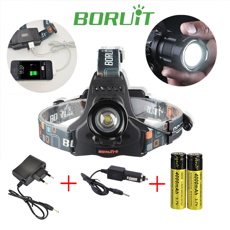 Boruit rj-2157 3L2 LED Rechargeable Zoomable Flashlight forehead Head light 2000 lumens Headlamp with 18650 battery and Charger