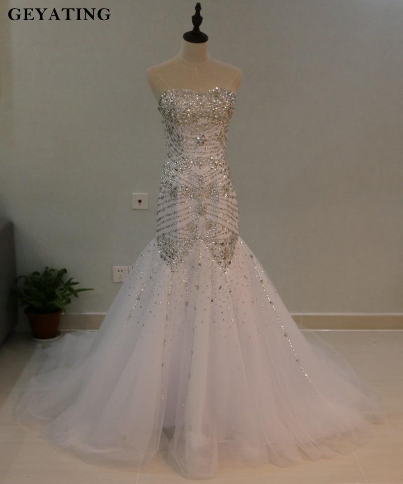 Real Photos bling crystal beadeds luxury wedding dress mermaid long ...