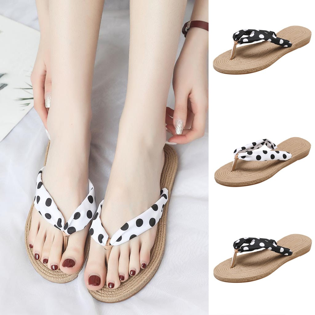 Summer New Canvas Tassel Metal Film Flat Bottom Shoes Flat Womens Sandals and Slippers