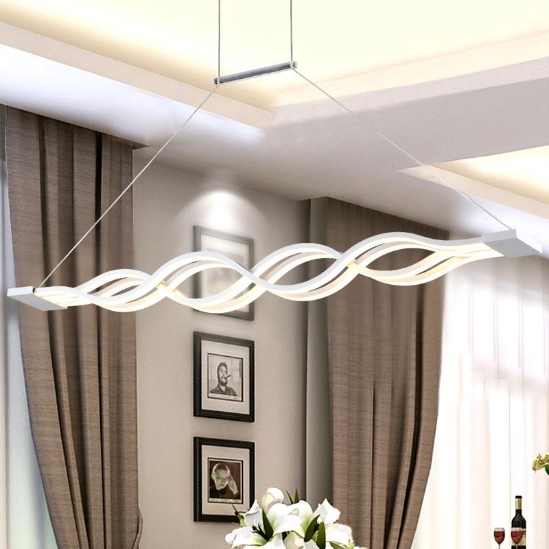 US $83.43 30% OFF|Neue 36 watt LED Seil Lampe Moderne Anhänger Lichter  Wohnzimmer Küche Restaurant Decor Weiß Welle Acryl Hause Beleuchtung 110  220 v ...