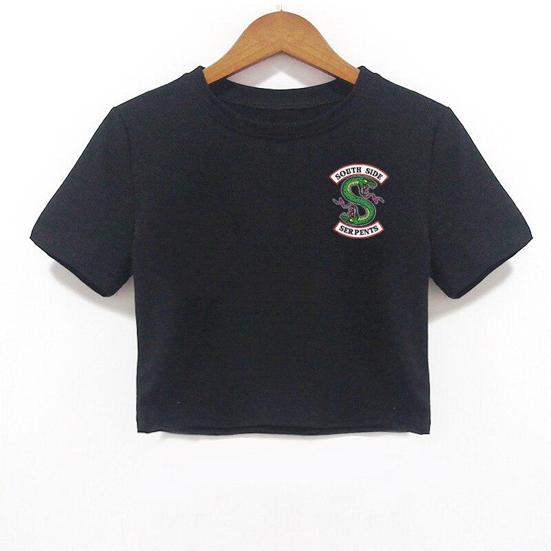 Casual Riverdale Southside Serpents Jughead Tee Shirt Femme Harajuku T Shirt Women Tumblr Clothes Short Sleeve Black Crop Top invisible bra