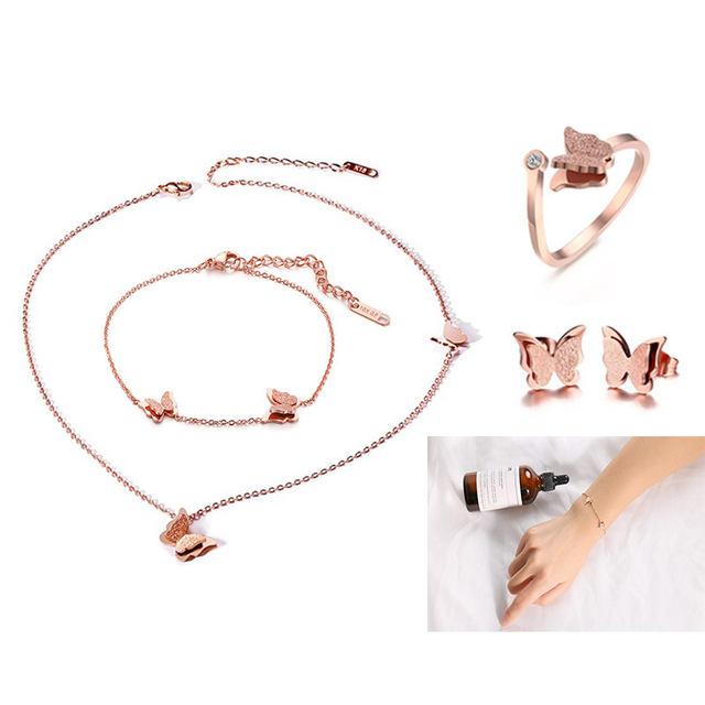 7a9d48d5a2ec Caliente conjunto de joyería titanium Acero de chorro de arena de mariposa  pulsera collar anillo uñas