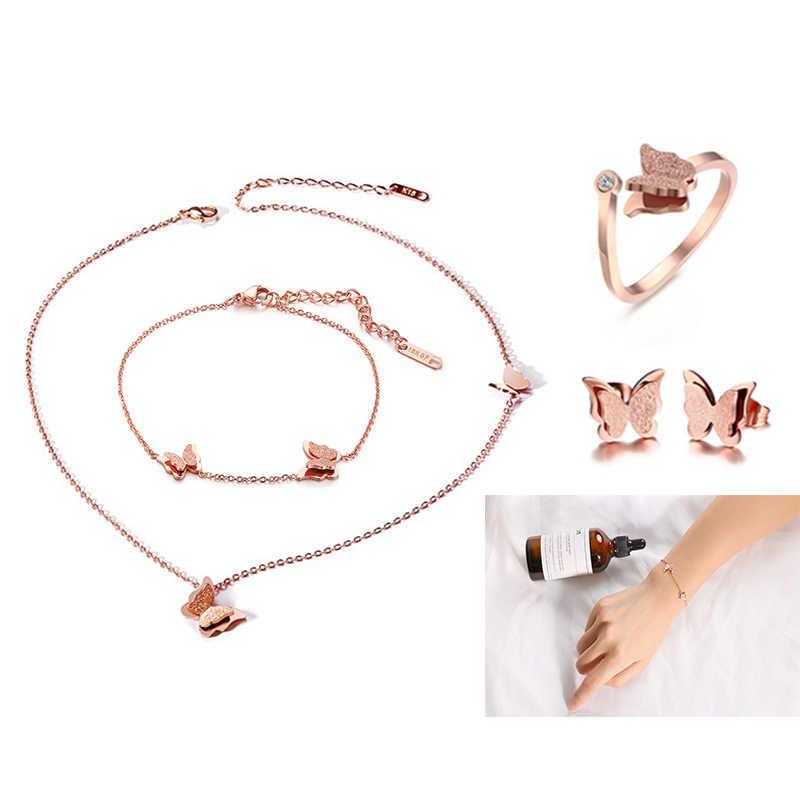 ร้อนชุดเครื่องประดับ TITANIUM เหล็กพ่นทรายผีเสื้อสร้อยข้อมือสร้อยคอแหวนหูเล็บ Rose Gold เครื่องประดับสาว