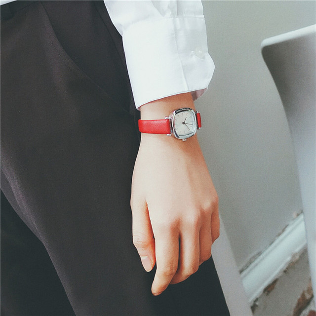 Leather Square Dial Stylish Small Women's Watch 4