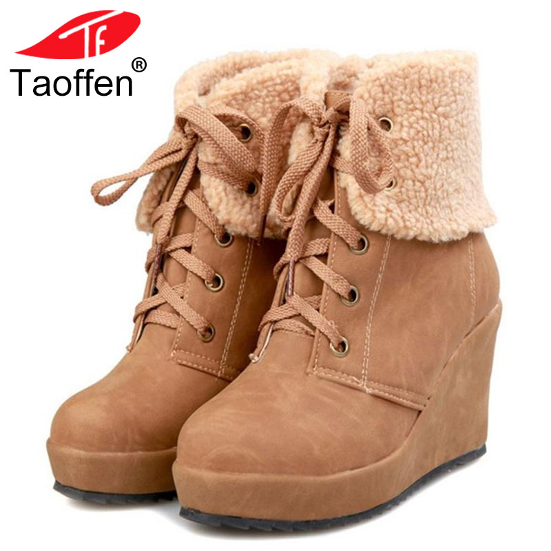TAOFFEN Women Warm Wedge Boots Winter Plush Fur Shoes Woman Lace Up Ankle Boots Fashion Round Toe Platform Shoes Size 34-39 adriatica часы adriatica 3638 1173q коллекция zirconia