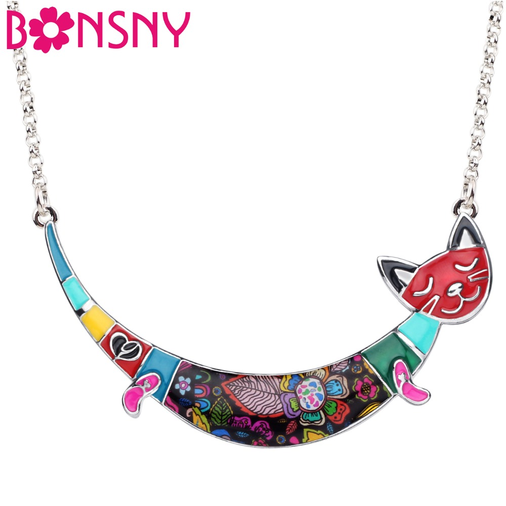 Bonsny Enamel Alloy Colorful Smile Cat Necklace Pendant Chain Choker Cartoon Animal Jewelry For Women Girls Teens Gift Accessory 网 红 小 姐姐