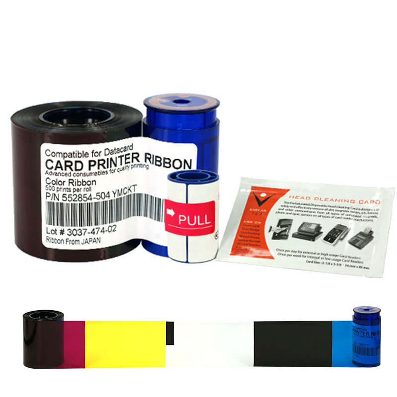 Printer Ribbon 552854-504 Color Ribbon 500prints/roll With cleaning wheel, cleaning card for Datacard SP35 SP55 SP75Printer Ribbon 552854-504 Color Ribbon 500prints/roll With cleaning wheel, cleaning card for Datacard SP35 SP55 SP75