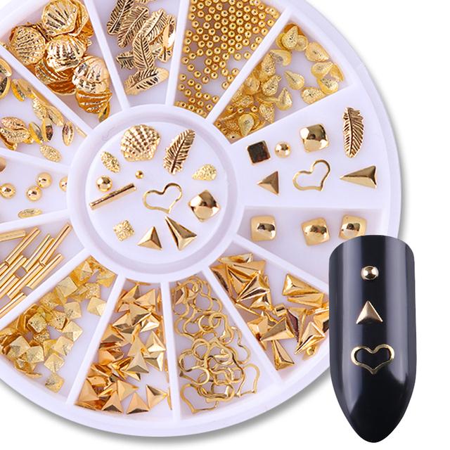 3D Nail Decoration Heart Leaf Shell Nail Rivet Gold Bead Manicure Nail Art Studs for DIY Design Mixed Patterns Nail Art Decors