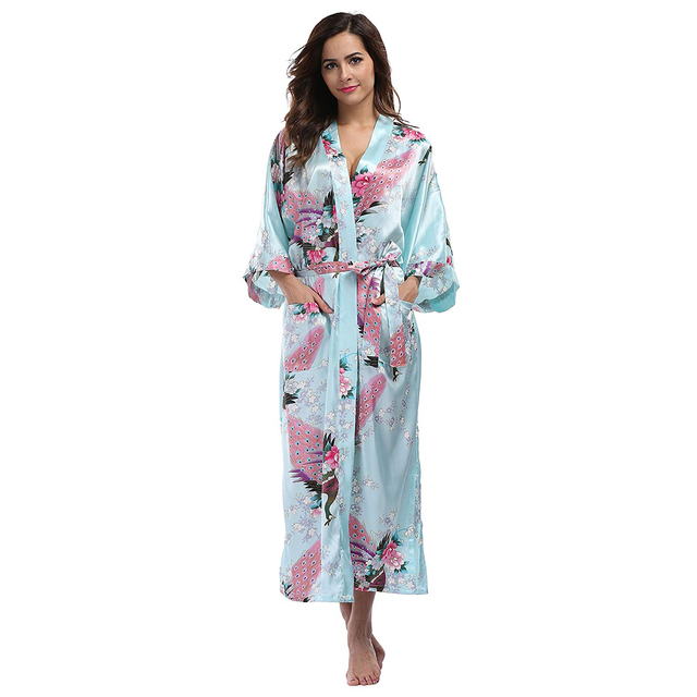 f338352703803 Bleu chinois femmes longue soie rayonne Robe Kimono Yukata Robe de bain  Sexy Lingerie vêtements de