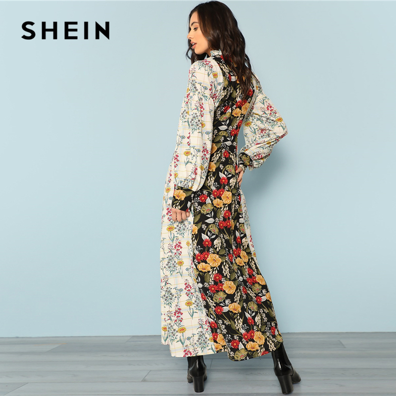 516641028f SHEIN Multicolor Party Mock Neck Lantern Sleeve Cut And Sew Floral Natural  Waist Maxi Dress New Autumn Highstreet Women Dresses-in Dresses from  Women's ...