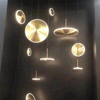 LICAN Suspension Gold Metal Cord Pendant Lights For Bar Kitchens LED Round Vintage Golden Hanging Pendant