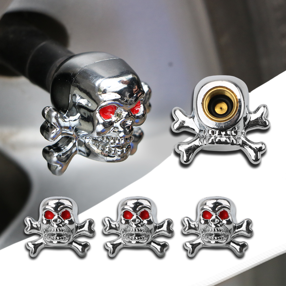 4PCS Skull Tire Air Valve Stem Caps For Car Truck Bike Tyre Accessories Automobiles Wheel Rims Decoration Car-styling