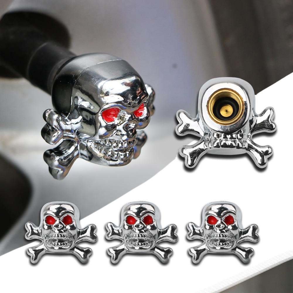 4PCS Skull Tire Air Valve Stem Caps For Car Truck Bike Tyre Accessories Automobiles Wheel Rims Decoration Car-styling
