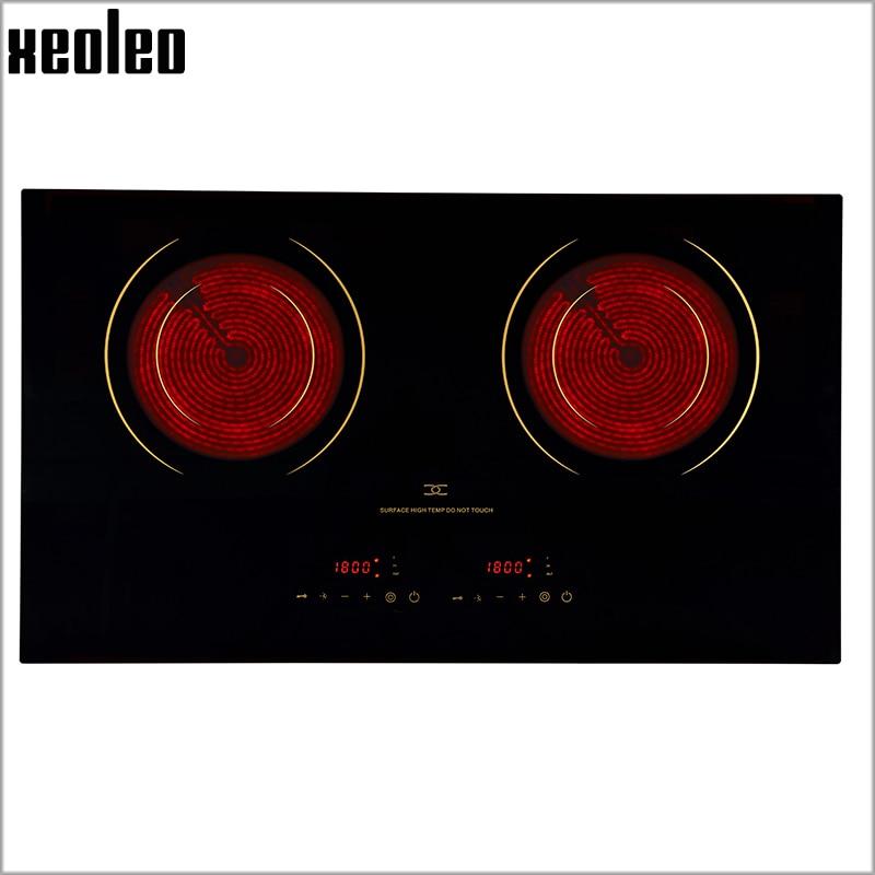 Xeoleo Electric ceramic cooker 2200W+2200W Embedded Ceramic glass hob Electric ceramic furnace Double wires No radiation