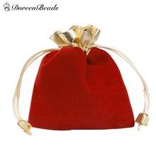 DoreenBeads 10PCs Red Black Velvet Drawstring Pouches Jewelry Gift Bags 12cm x 9cm(4 6/8″x3 4/8″) (B19326), yiwu