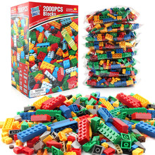 2000Pcs City DIY Designer Creative Building Blocks Bulk Sets LegoINGLs Classic Bricks Educational Toys for Children Storage Box цены