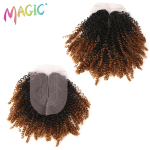"""Image 2 - 14""""Inch Ombre Hair Blonde Afro Kinky Curly Hair Weaving 7pcs/Lot Synthetic Hair Extensions 6Bundles With Closure For Black Women"""