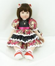 22 inch 55 cm Silicone baby reborn dolls, lifelike doll reborn babies toys Flower skirt brown eyed doll