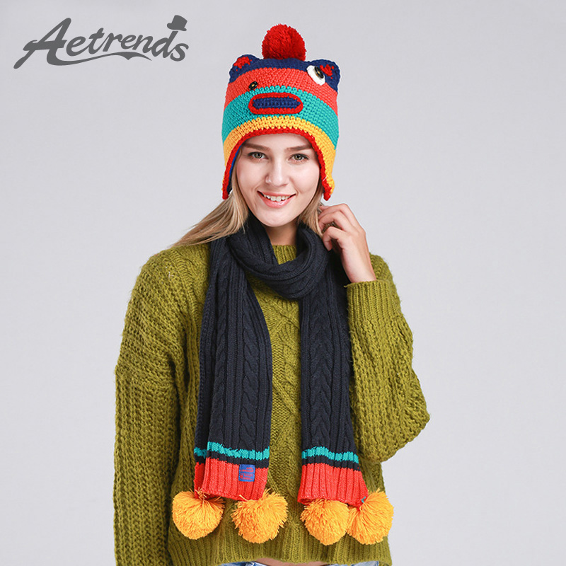 aetrends 2016 new winter beanie scarf set 2pcs s