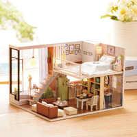 Muñeca casa miniatura FAI DA TE casa de muñecas con muebles de madera de tiempo de espera juguetes para niños Regalo L020