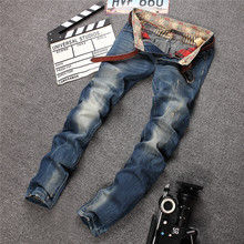 Fashion Italy Brand Jeans Men Male Straight Leg Denim Trousers Mens Business Pants Blue Jeans Men Biker Jeans Size 29-38