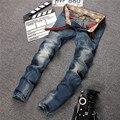 Moda Itália Marca Homens Jeans Masculino Reta Calças Jeans Perna Calças calças de Ganga Dos Homens do Motociclista Dos Homens de Negócios Calça Jeans Tamanho 29-38