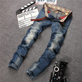Moda Italia Brand Jeans Hombres Hombres de Pierna Recta Pantalones de Mezclilla Pantalones Vaqueros de Los Hombres Del Motorista del Mens del Negocio Azul Jeans Tamaño 29-38