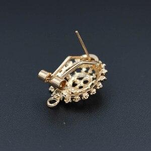 Image 4 - Clip Earrings Post with Loop Hanger Hollow Filigree Circel Flower DIY Metal Stud Earrings Findings 18x21mm 10 Pairs