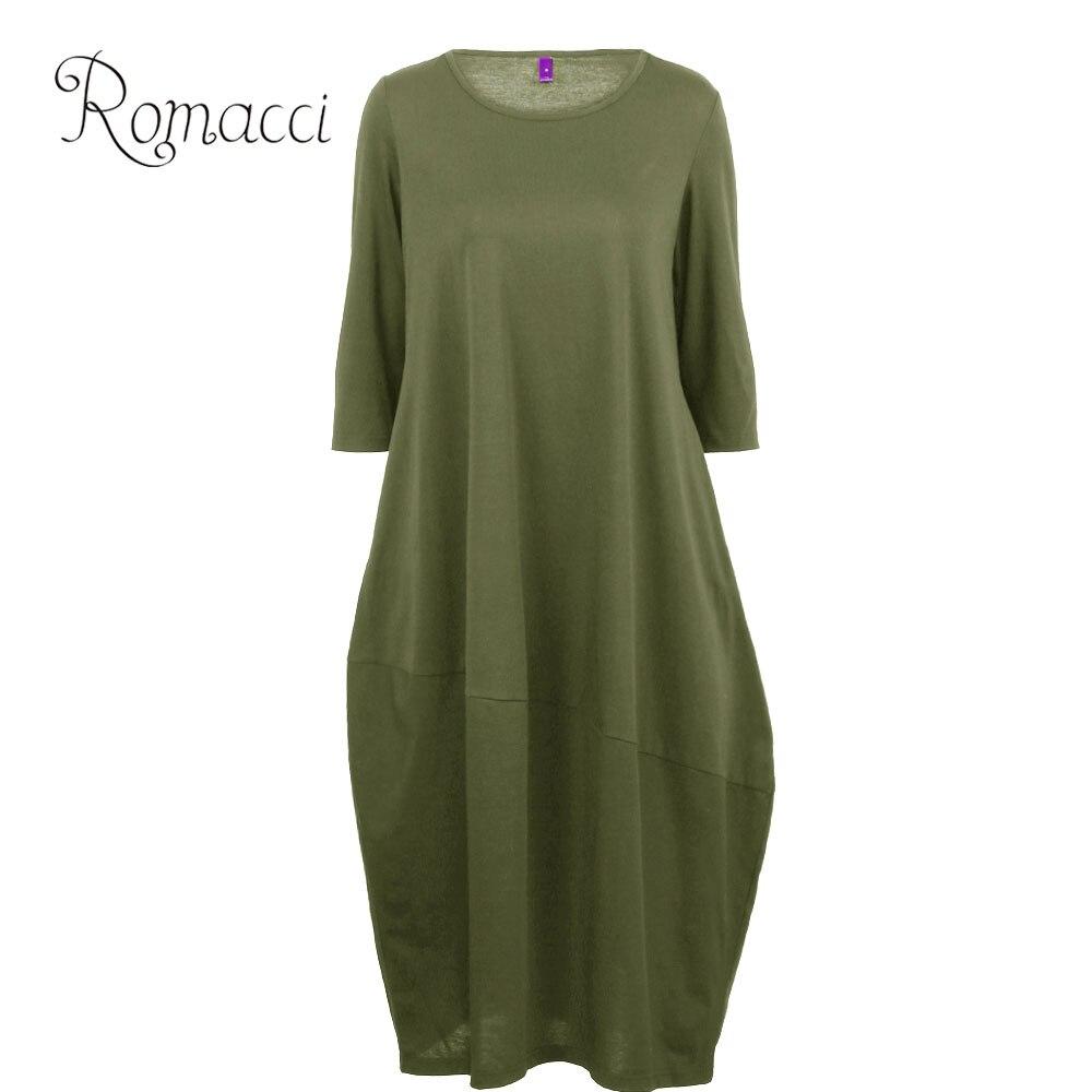 Vestido verde militar holgado