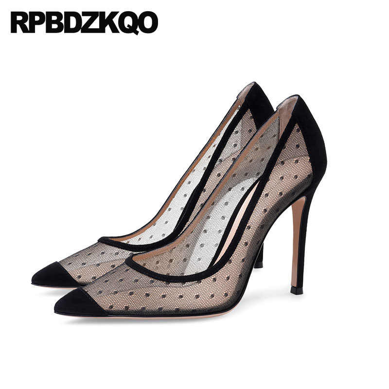db62622e3c30 Autumn Pointed Toe Sandals Mesh Ladies Dress Shoes Thin Women 2018 Black  Size 33 4 34