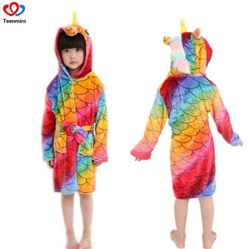 2018 Sale Kids Robe Children Flannel Bathrobes Unicorn Boys Girls Hooded Bathrobe Toddler Boy Pajamas Baby Girl Soft Bath Robe
