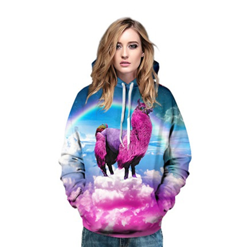 Unicorn Hoodies 3D Alpaca Spring Clothing Casual Printed Sweatshirts women Pullovers Street wear Free Shipping