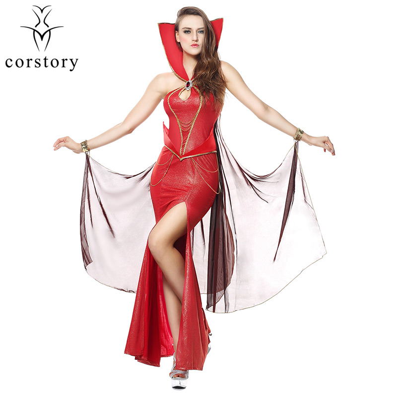 Corstory Sexy Red Glittering Devil Costume Sexy Witch Vampire Costume Women Masquerade Party Devil Halloween Cosplay Costume