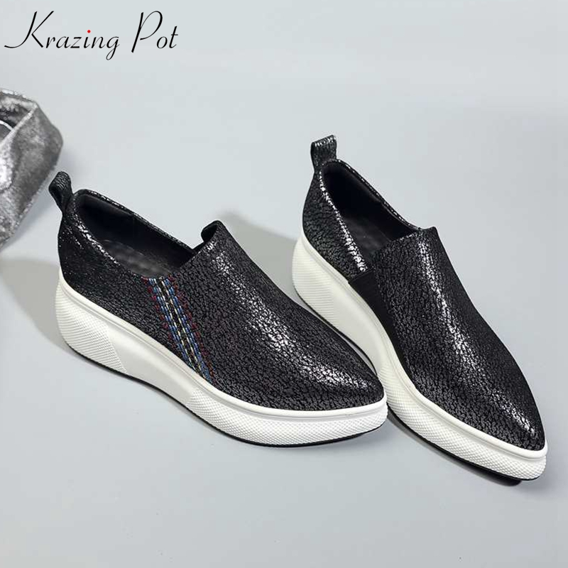 Krazing Pot basic sheep leather handmade slip on flat platform pointed toe sneakers for women comfortable vulcanized shoes L3f8