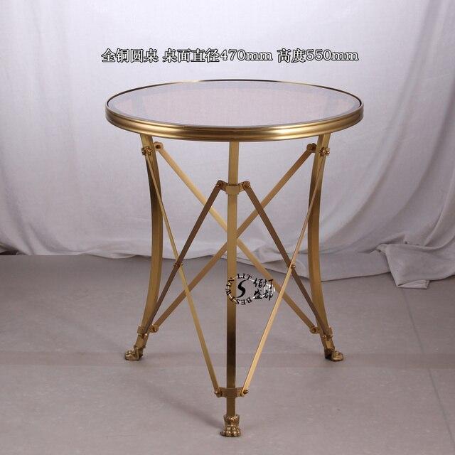 European Retro Modern American Furniture Brass Coffee Table Corner A Few  Side A Few Small Lights