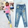 Bf отверстие волочения проволоки широкий джинсы тонкий отверстие крест брюки нищий брюки женский мм Большой размер