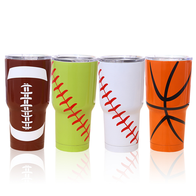 stainless steel vacuum thermos cup Insulation Car Cup Beer  Baseball Cup Hand printing cold insulation cup Outdoor sports SC03