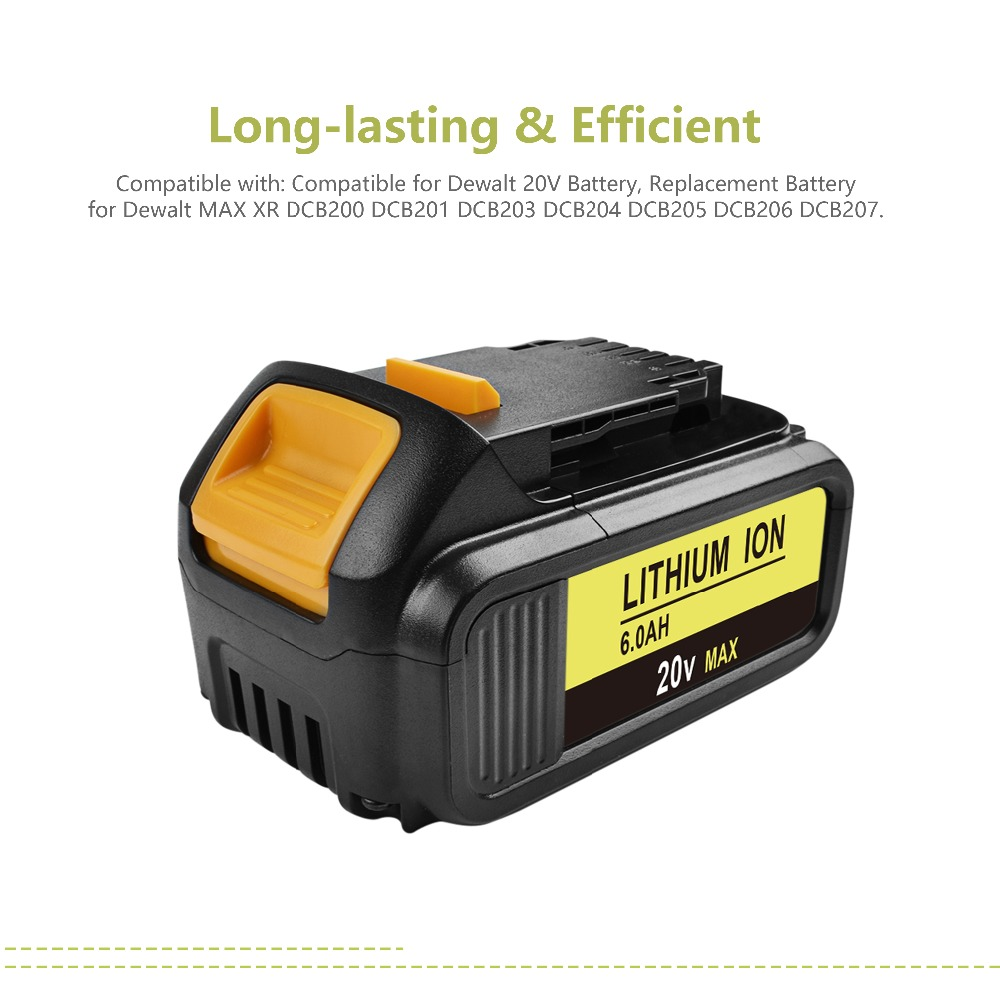 Powtree 2PACK 20V 6000mAh For DeWalt DCB200 Rechargeable Power Tools  Battery Replacement DCB181 DCB182 DCB204 DCB101 DCF885