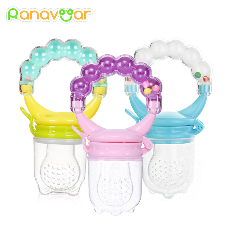 Baby Nipple Fresh Food Fruit Milk Feeding Bottles Nibbler Learn Feeding Drinking Water Straw Handle Teething Pacifier With Bell