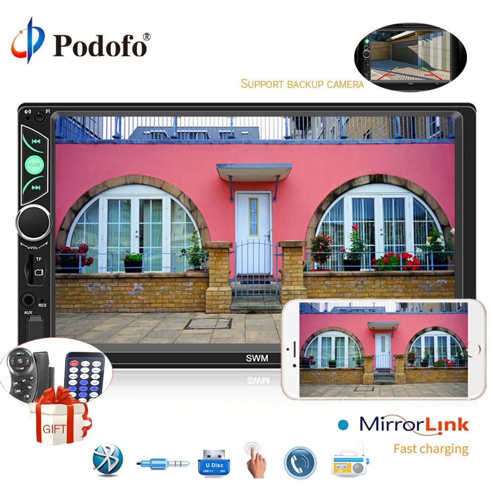 Podofo 2din 7 De Voiture Radio Audio Multimédia Lecteur Autoradio Bluetooth Écran Tactile MP5 Lecteur USB FM avec IOS/ android Miroir Lien