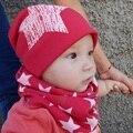 Оптовая kid подарков звезда детские hat шарф две шт крышка младенца детские шапки хлопок крышки