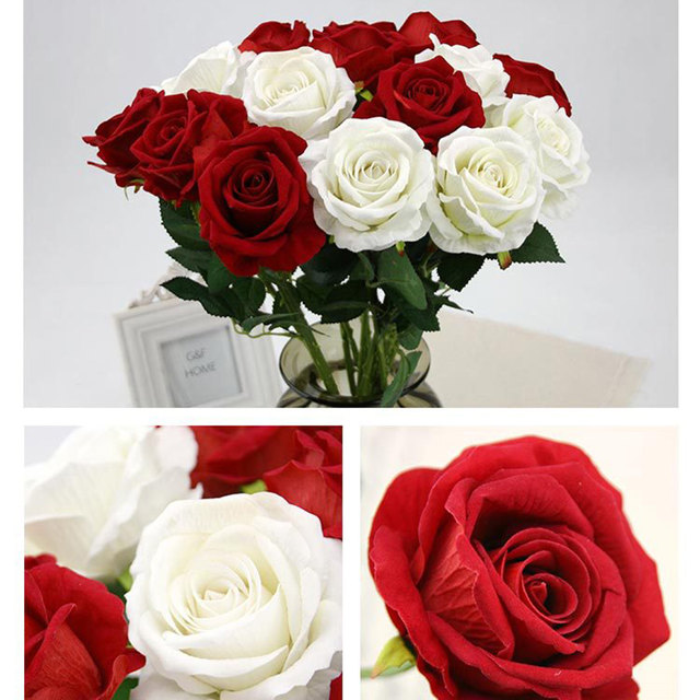 New Multi Color Realistic Fake Flower Arrangement Home Room Decor Rose In Silk Cloth Artificial For Wedding Decoration