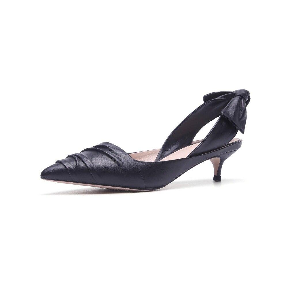 Krazing pentola consiglia solido colori med talloni bassi pompe scarpe a punta torna bowtie superficiale European brand stile strano scarpe L03-in Pumps da donna da Scarpe su  Gruppo 3